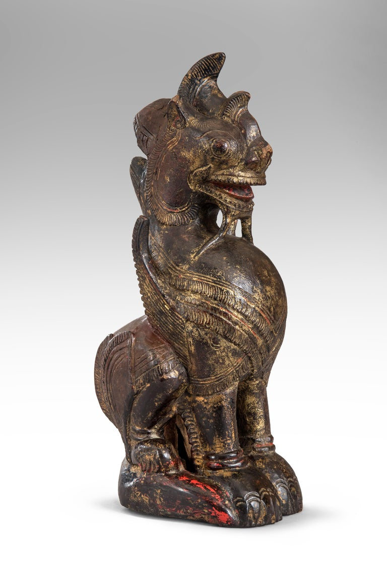 Thai mythological guardian lion sculpture
