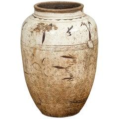 Thai Sawankhalok 1850s Exterior Water Jar with Distressed White Patina