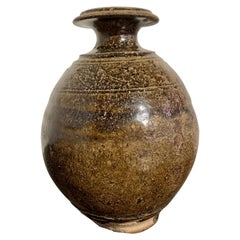 Thai Sawankhalok Olive Glazed Bottle Vase, 14th-16th Century, Thailand