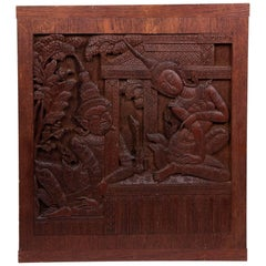 Thai Siamese Carved Teak Wood Panel of Temple Goddess