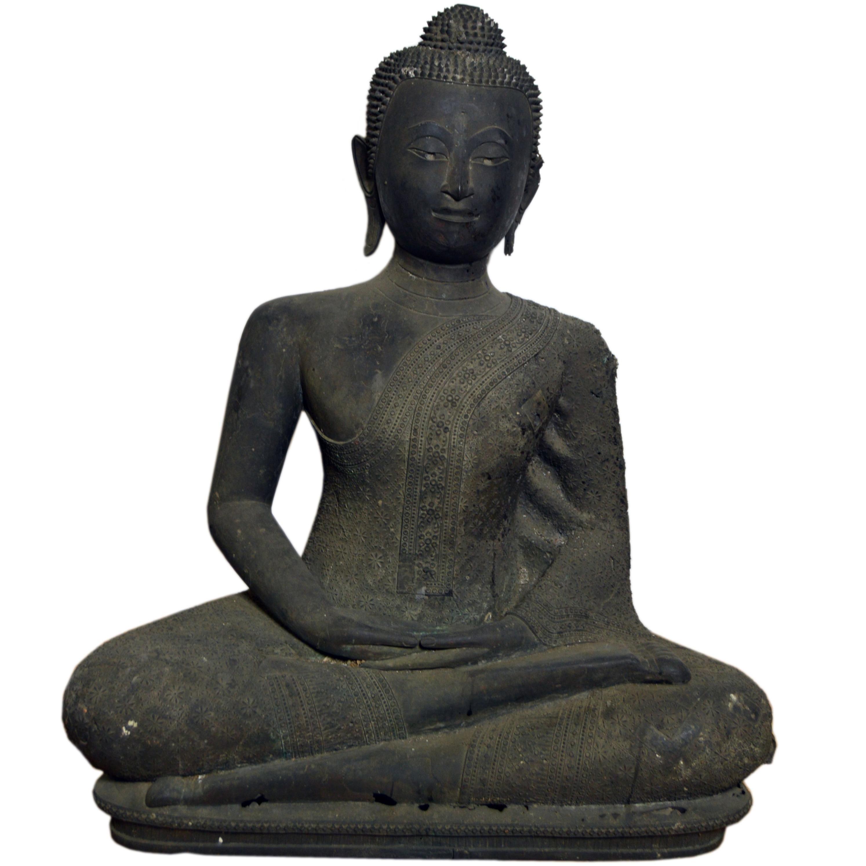 Thai Turn of the Century Bronze Seated Buddha Sculpture with Dark Patina