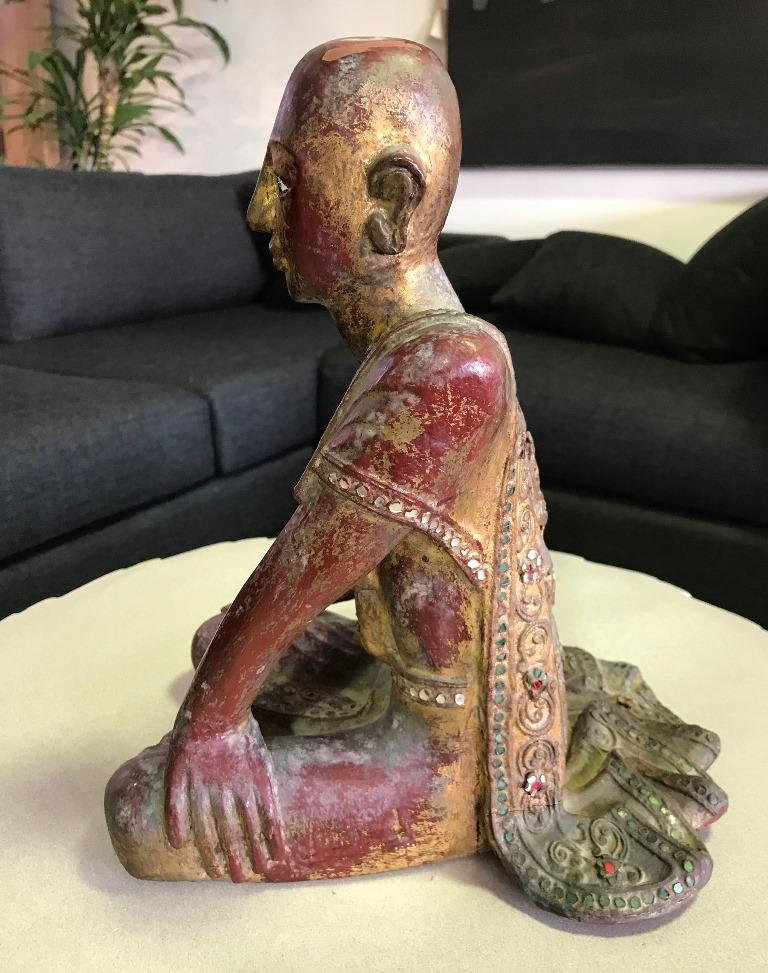 Hand-Carved Thai Wood Carved, Polychrome and Gilt Sculpture of Buddhist Temple Monk For Sale