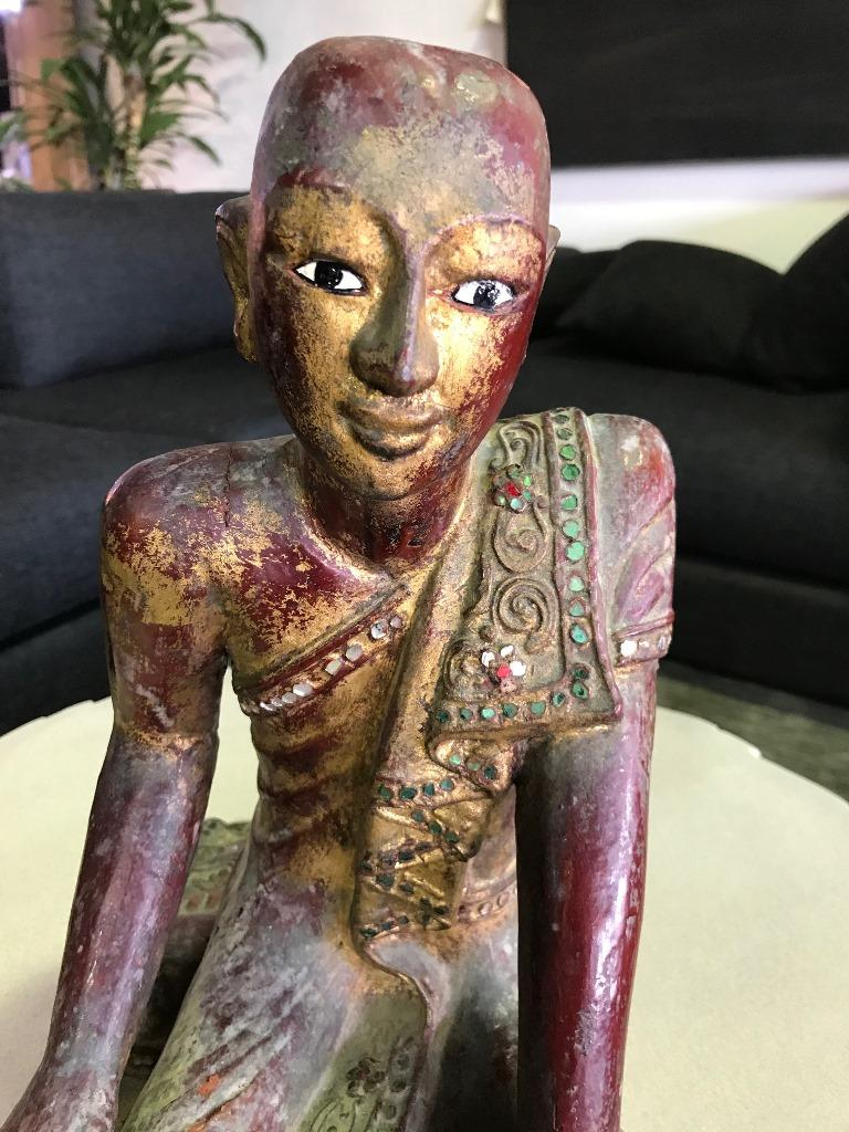 Thai Wood Carved, Polychrome and Gilt Sculpture of Buddhist Temple Monk For Sale 3