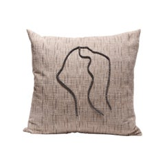 Thai Woven Linen Pillow with Chinese Pearls