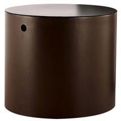 Thais S Round Table with Leather Covering