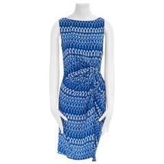 THAKOON 100% silk blue white geometric print draped waist sleeveless dress US2