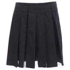 THAKOON black polyamide  floral sheer lace pleated lined flared mini skirt  US4
