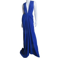 Thakoon Plunging Blue Gown