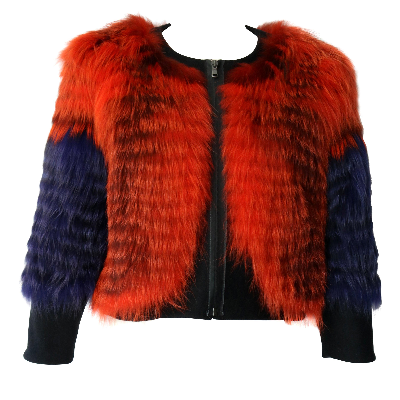 Thakoon Purple and Orange Collarless Fox Fur Jacket
