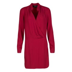 Thakoon Red Crepe Draped Long Sleeve Dress S