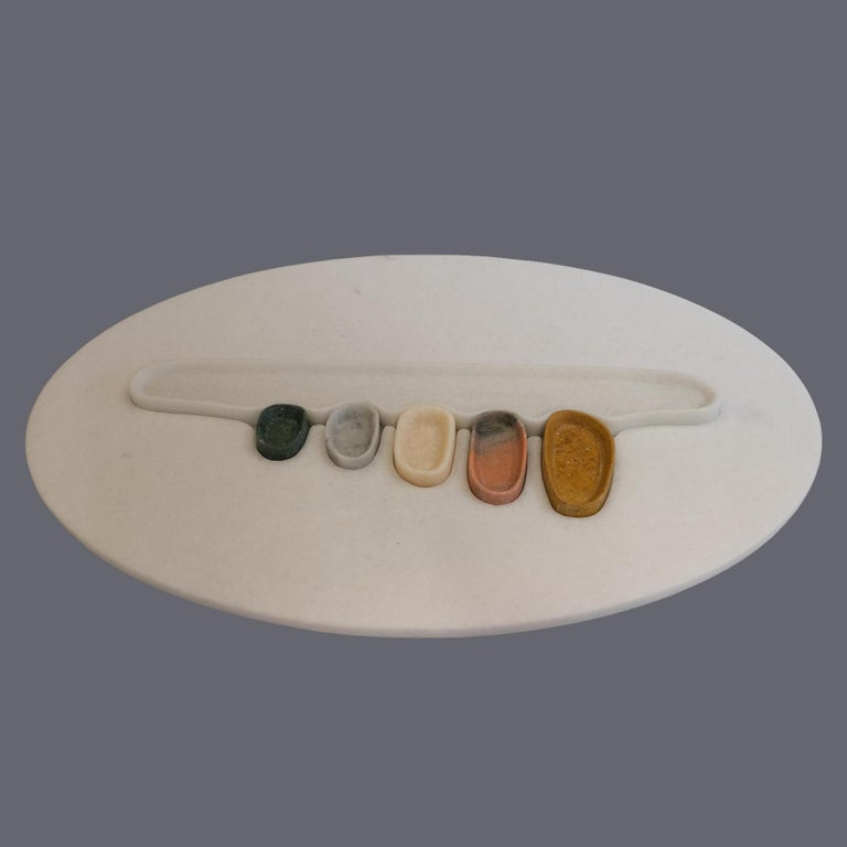 Modern Thali, Marble Low Table, Design by Matang and Natasha Sumant For Sale