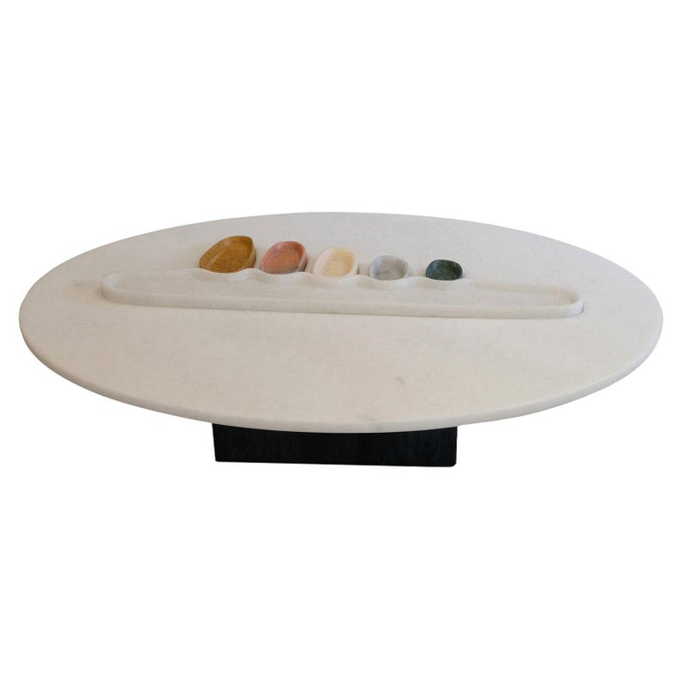 Thali, Marble Low Table, Design by Matang and Natasha Sumant For Sale