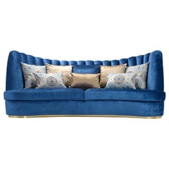 Thalia Blue 4-Seater Sofa