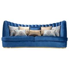 Thalia Blue 4-Seater Sofa