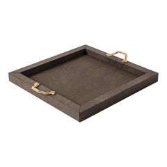 Thalia Brown Square Tray with 24K Gold