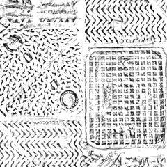 Thames Printed London Manhole Wallpaper, Black on White