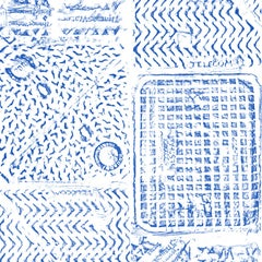 Thames, Printed London Manhole Wallpaper, Blue on White