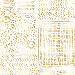 Thames- Printed London Manhole Wallpaper, Gold on White