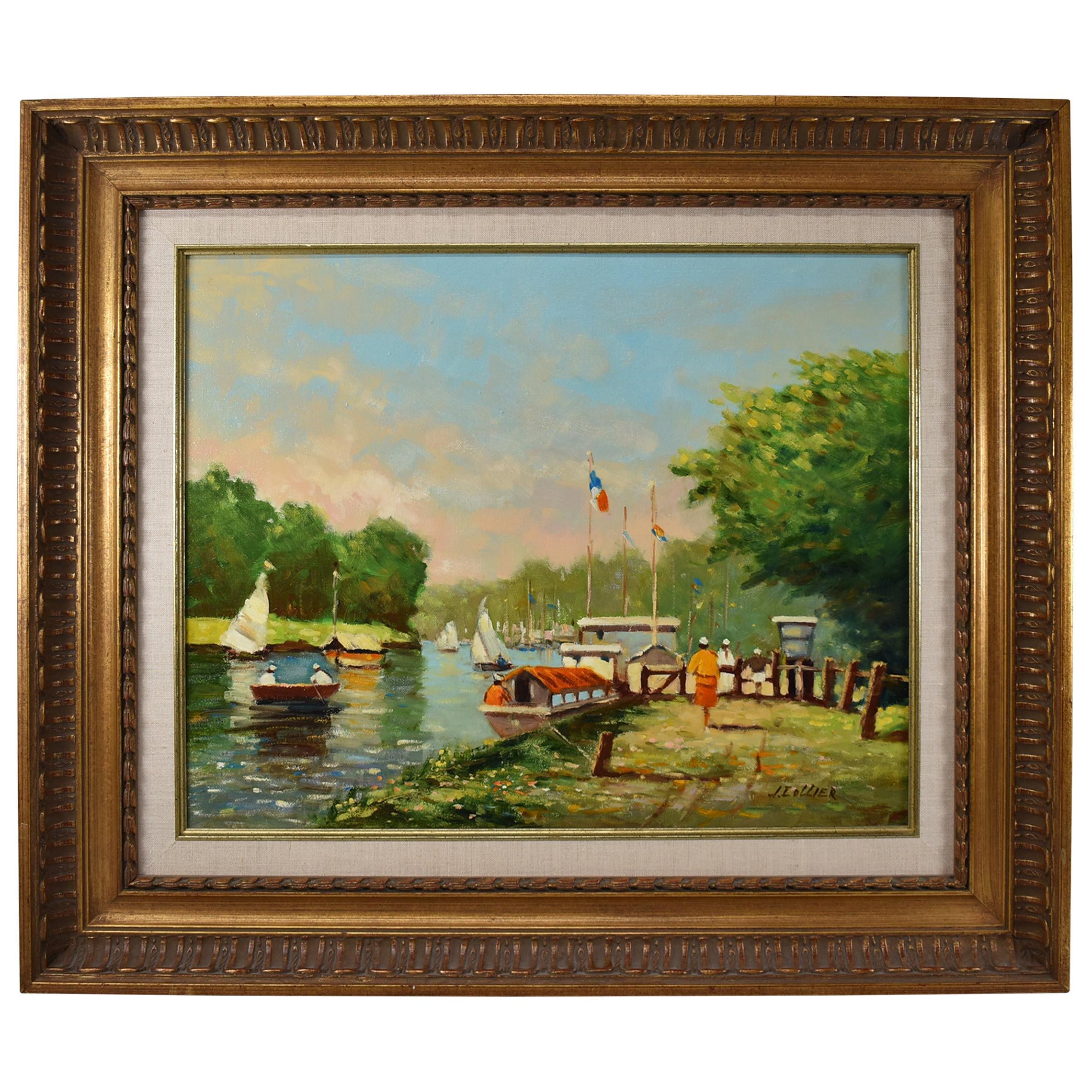Thames River Scene Original Oil Painting J. Collier