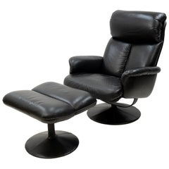 Thams Black Leather Lounge Chair and Ottoman, 1970s