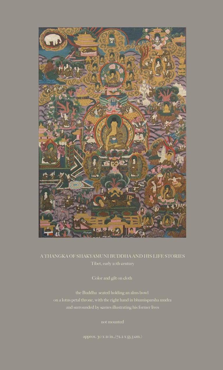 A Thangka Of Shakyamuni Buddha And His Life Stories