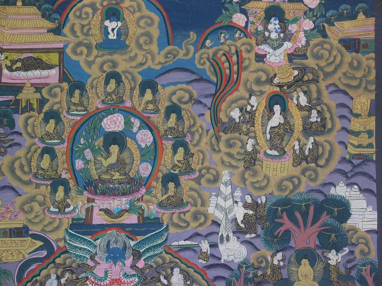 Thangka of Shakyamuni Buddha and His Life Stories, Tibet Early 20th Century In Good Condition In Ottawa, Ontario