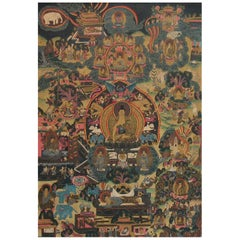 Thangka of Shakyamuni Buddha and His Life Stories Tibet, Early 20th Century