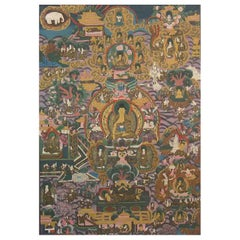 Thangka of Shakyamuni Buddha and His Life Stories, Tibet Early 20th Century