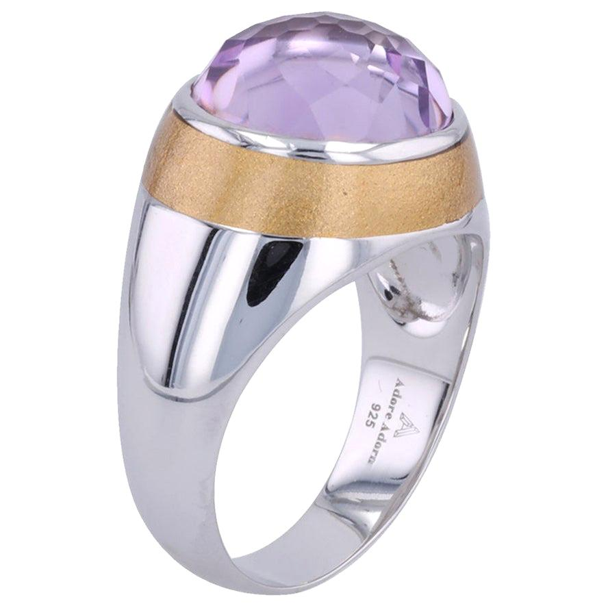 Thank You Gold Enamel Ring with Cabochon Amethyst in White Gold
