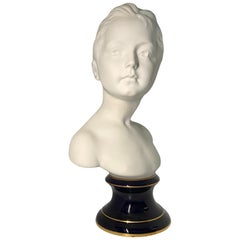 Tharaud Limoges France Bisque Porcelain Large Bust of a Girl