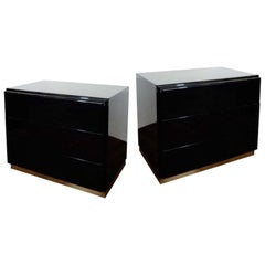 Thayer Coggin Black Lacquered Nightstands or Chests