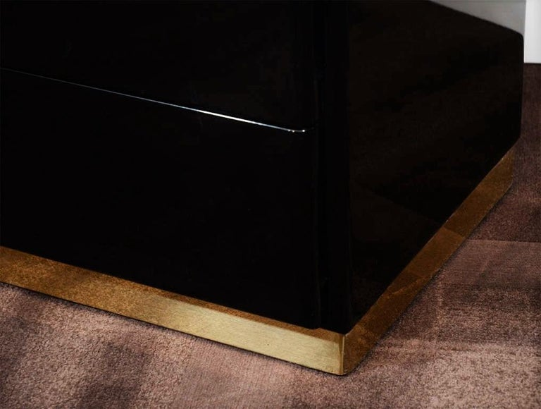 Mid-Century Modern Thayer Coggin Black Lacquered with Brass Bases Nightstands or Chests For Sale