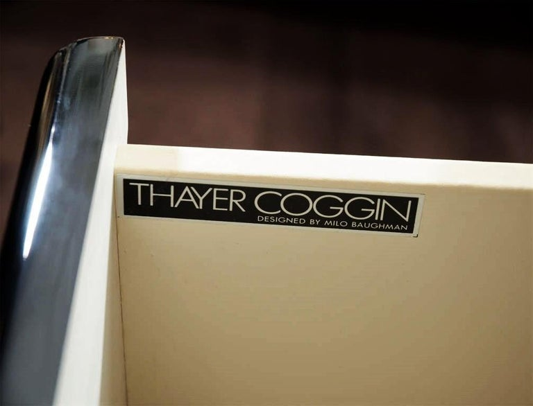 Thayer Coggin Black Lacquered with Brass Bases Nightstands or Chests In Good Condition For Sale In Dallas, TX