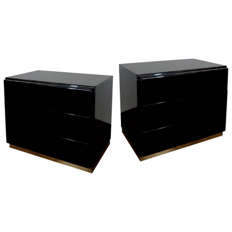 Thayer Coggin Black Lacquered with Brass Bases Nightstands or Chests For Sale