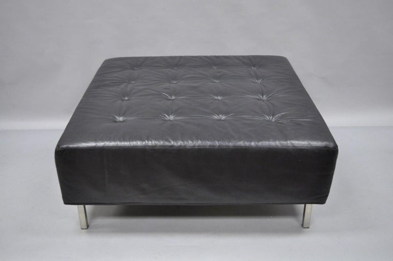 Thayer Coggin Black Tufted Leather Square Ottoman Modern