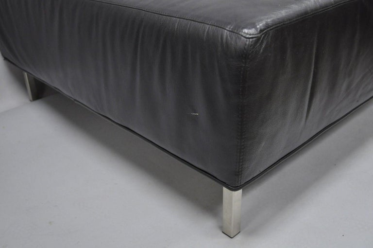 Strange Thayer Coggin Black Tufted Leather Square Ottoman Modern Barcelona Style Theyellowbook Wood Chair Design Ideas Theyellowbookinfo