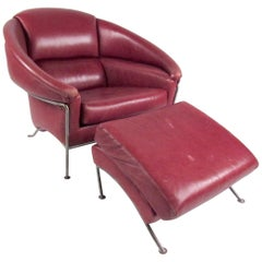 "Thayer Coggin ""Boldido"" Leather Lounge Chair by Milo Baughman"