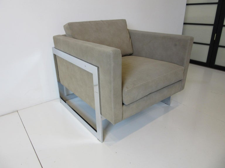 20th Century Thayer Coggin Cube Cantilever Lounge Chair by Milo Baughman For Sale