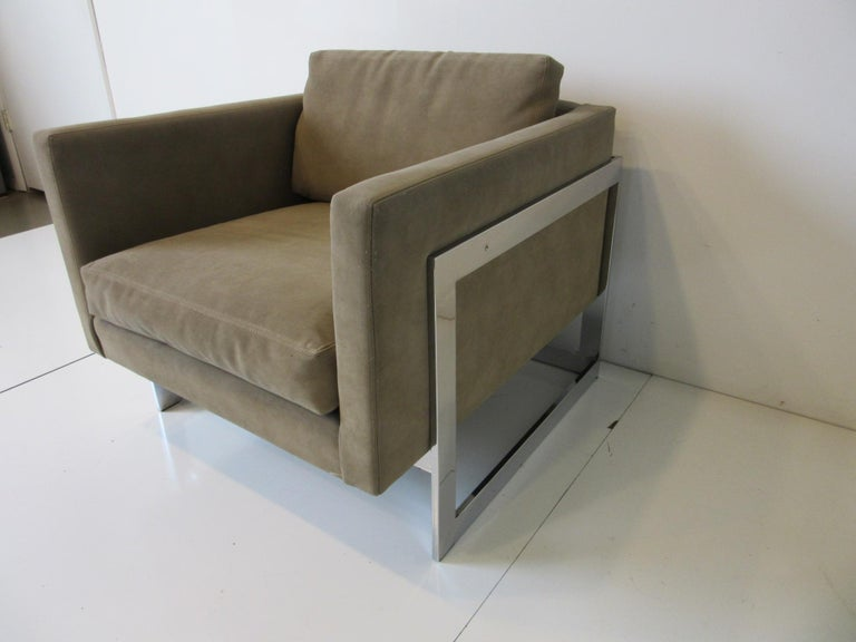 Upholstery Thayer Coggin Cube Cantilever Lounge Chair by Milo Baughman For Sale