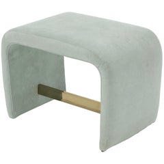 Thayer Coggin Ligh Blue to Teal Upholstered C Shape Window Bench