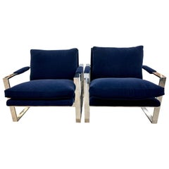 Thayer Coggin Mid-Century Navy Velvet Newly Upholstered Cantilever Cube Chairs