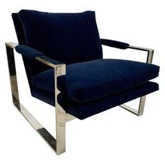 Thayer Coggin Mid-Century Newly Upholstered Navy Velvet Cantilever Cube Chair