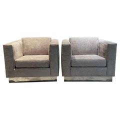 Thayer Coggin Milo Baughman Cube Club Chairs Exquisite Gray Aluminum Base, 1970