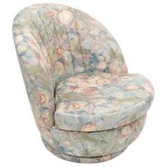 Thayer Coggin Swivel Scallop Shape Back Tilt Rocking Lounge Chair