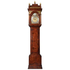 The 10.12ft 18th Century George I Bur/Burl Walnut Month Longcase Clock by