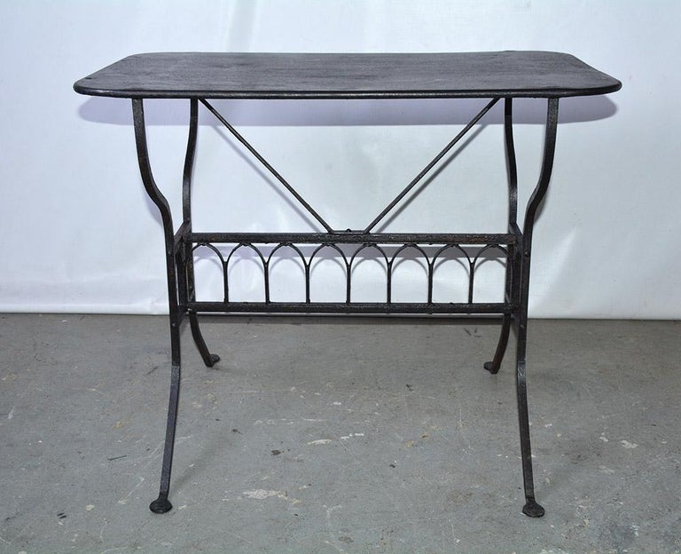 Napoleon III 19th Century French Iron Bistro Table with Faux Gothic Stretcher For Sale