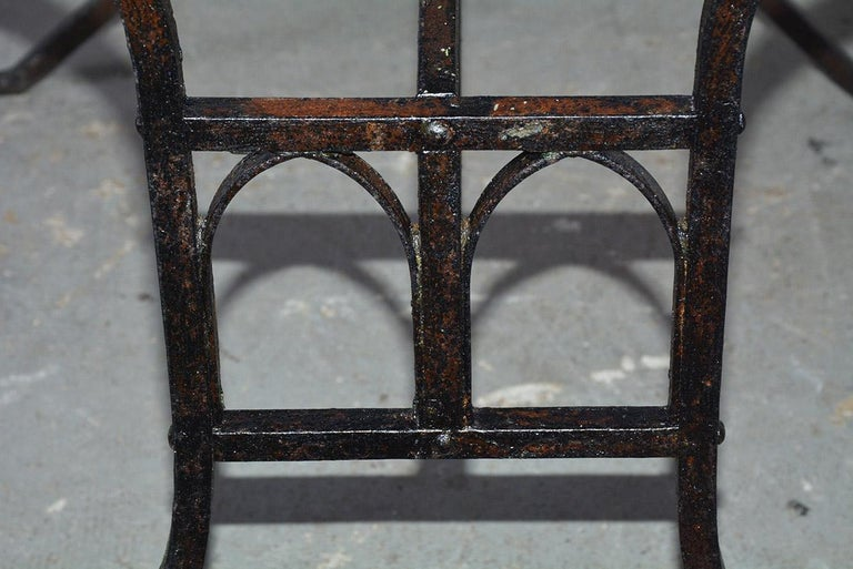 Late 19th Century 19th Century French Iron Bistro Table with Faux Gothic Stretcher For Sale