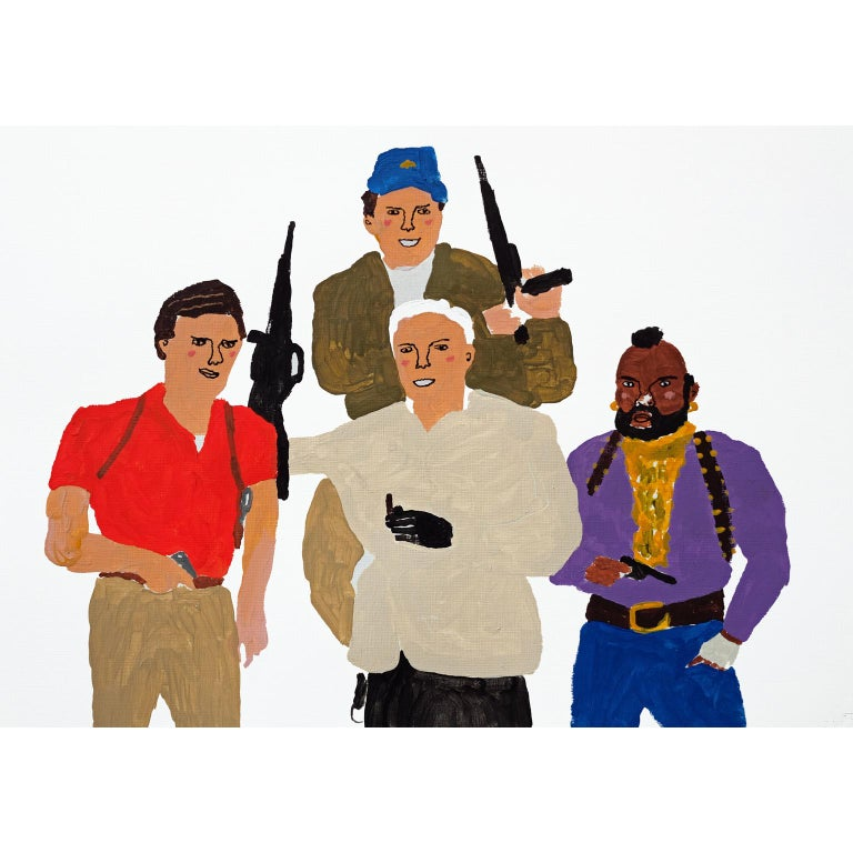 Modern 'The A-Team' Portrait Painting by Alan Fears Acrylic on Paper Pop Art For Sale