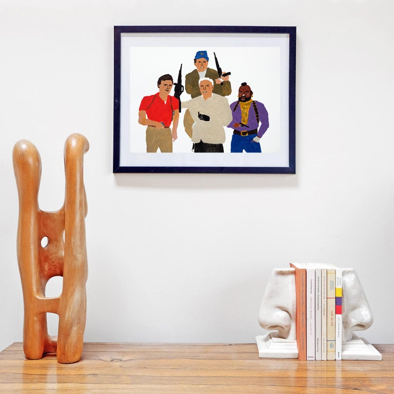English 'The A-Team' Portrait Painting by Alan Fears Acrylic on Paper Pop Art For Sale