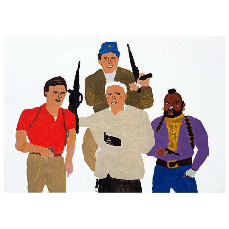 'The A-Team' Portrait Painting by Alan Fears Acrylic on Paper Pop Art For Sale
